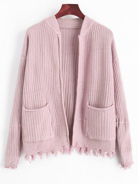 Ripped Open Cardigan with Pockets - LIGHT PINK ONE SIZE