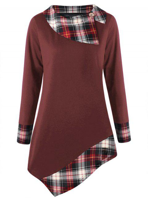 Plus Size Plaid Trim Asymmetrical Top - CLARET 2XL