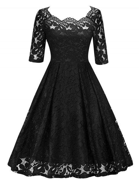 Retro Lace Party Pin Up Dress - BLACK M