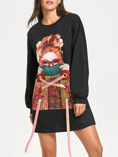 Printed Lace Up Tunic Sweatshirt - BLACK S