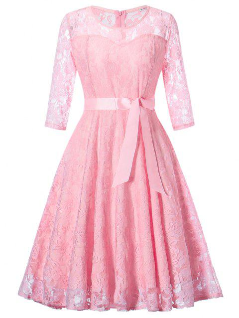 Lace Vintage Overlay Dress - PINK 2XL