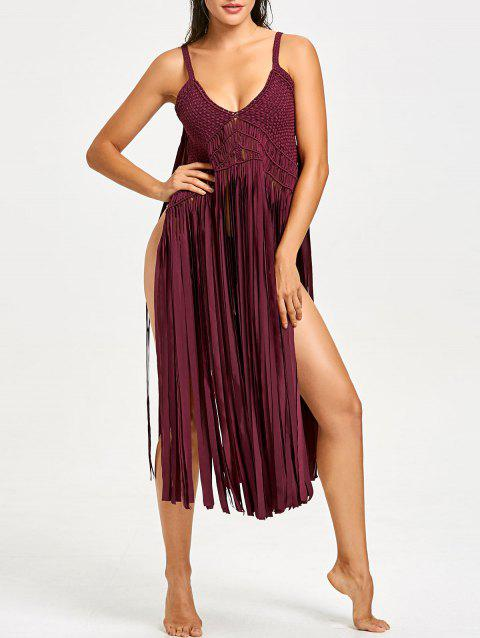 Fringe Crochet Knit Cover-up with G-string - WINE RED ONE SIZE