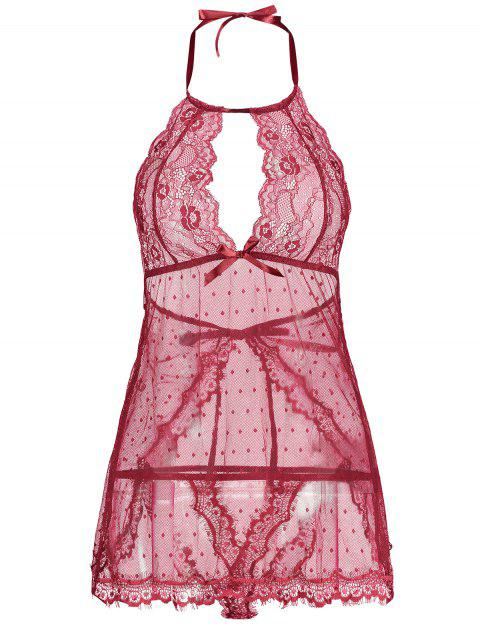 Lingerie Lace Back Split Sheer Dress - WINE RED M