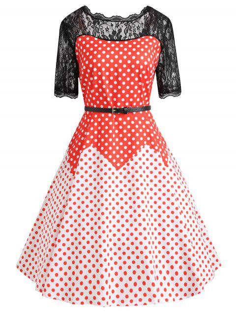 2018 Lace Insert Plus Size Color Block Polka Dot Vintage Dress Red