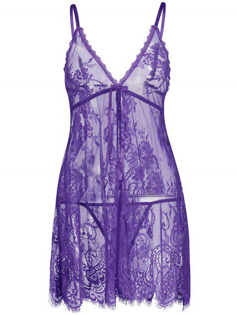 Lace Sheer Slip Lingerie Babydoll - PURPLE XL