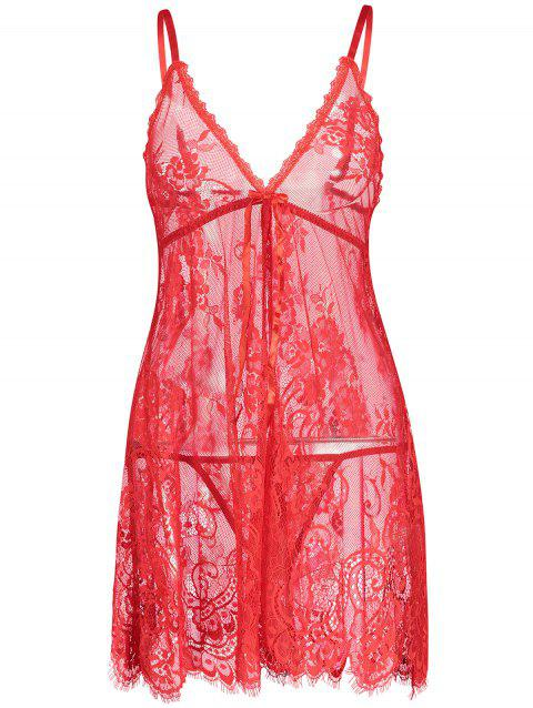 Lace Sheer Slip Lingerie Babydoll - RED M