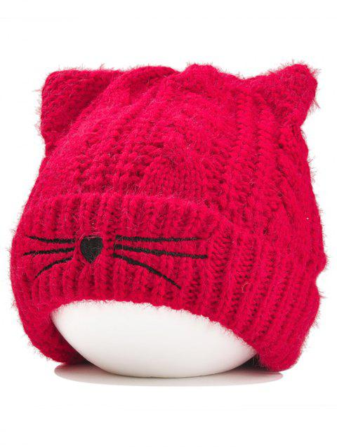 Funny Kitty Ear Decoration Knitted Lightweight Beanie - RED
