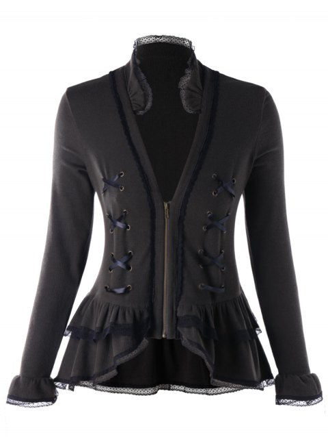 Plus Size Lace Trimmed Criss Cross Jacket - SMOKY GRAY 2XL