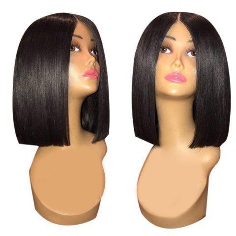 Center Parting Medium Blunt Straight Synthetic Wig - BLACK