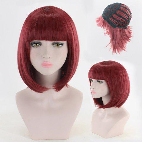 Short Full Bang Straight Bob Synthetic Cosplay Wig - WINE RED