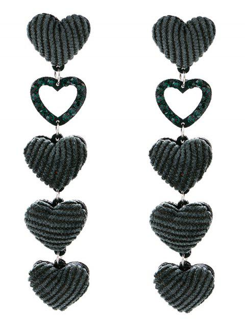 Vintage Heart Drop Earrings - GREEN