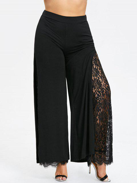Plus Size High Split Lace Palazzo Pants - BLACK 5XL