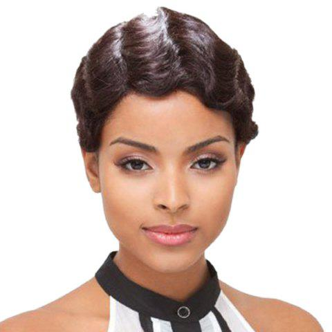 Short Retro Finger Wave Mommy Synthetic Wig - DEEP BROWN