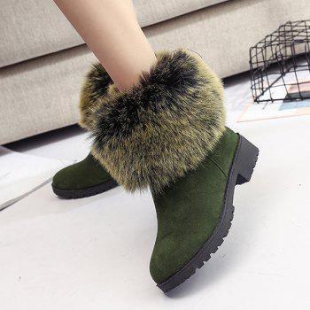 Low Heel Fuzzy Short Boots - GREEN 37