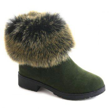 Low Heel Fuzzy Short Boots - GREEN GREEN