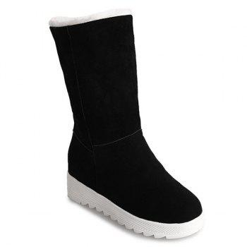Fold Over Stitching Mid Calf Boots - BLACK BLACK