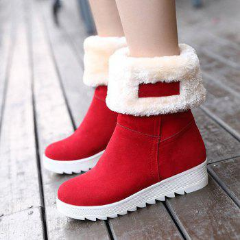 Fold Over Stitching Mid Calf Boots - RED 38