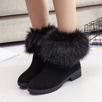 Low Heel Fuzzy Short Boots - BLACK BLACK