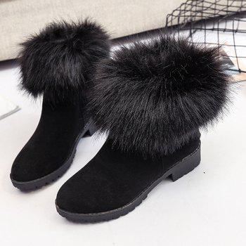 Low Heel Fuzzy Short Boots - BLACK 39