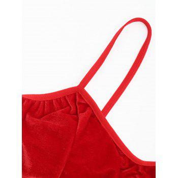 Velour Lace Trim Bralette Set - RED RED