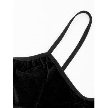Velour Lace Trim Bralette Set - BLACK BLACK