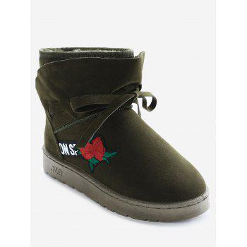 Bow Tie Floral Embroidered Ankle Boots - ARMY GREEN ARMY GREEN