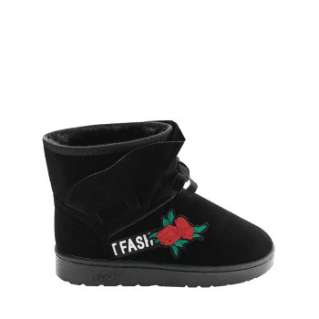 Bottines Brodé Floral à Noeud Papillon - Noir 39