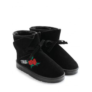 Bow Tie Floral Embroidered Ankle Boots - BLACK 40