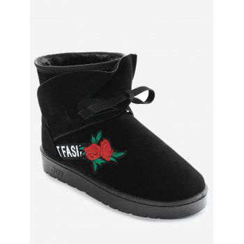 Bow Tie Floral Embroidered Ankle Boots - BLACK BLACK
