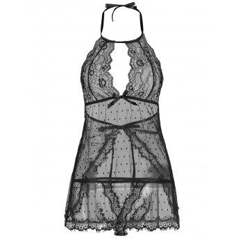 Lingerie Lace Back Split Sheer Dress - BLACK BLACK