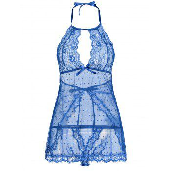 Lingerie Lace Back Split Sheer Dress - BLUE BLUE