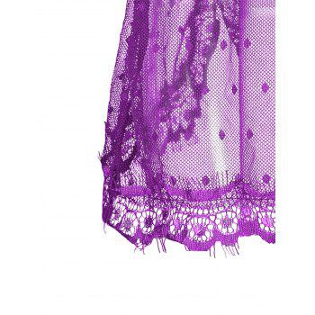 Lingerie Lace Back Split Sheer Dress - PURPLE S