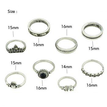 Vintage Elephant Circle Heart Finger Ring Set - SILVER