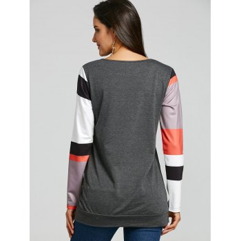 Color Block Sleeve Insert Kangaroo Pocket Sweatshirt - DEEP GRAY S