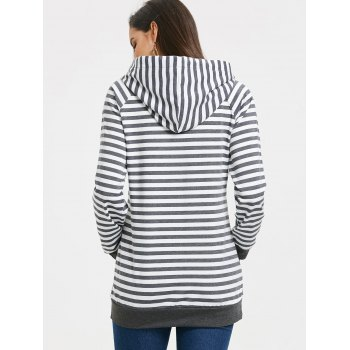 Stripe Panel Kangaroo Pocket Raglan Sleeve Hoodie - DARK GREY XL