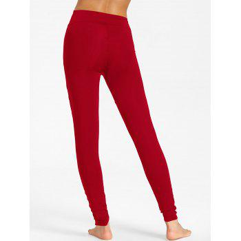 High Waist Mesh Panel Workout Leggings - RED XL