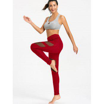 High Waist Mesh Panel Workout Leggings - RED L