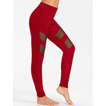 High Waist Mesh Panel Workout Leggings - RED S