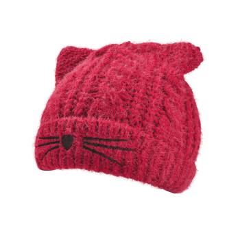 Funny Kitty Ear Decoration Knitted Lightweight Beanie -  WINE RED