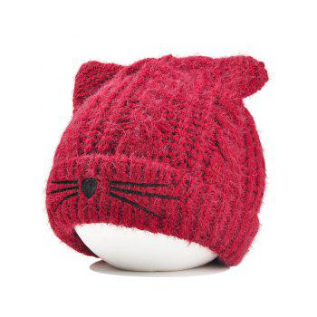 Funny Kitty Ear Decoration Knitted Lightweight Beanie - WINE RED WINE RED