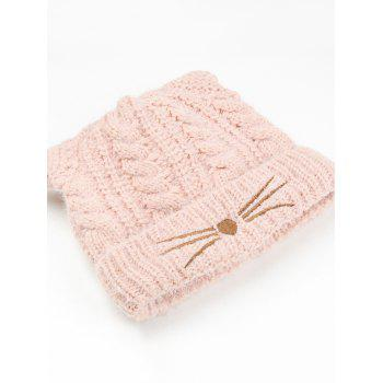 Funny Kitty Ear Decoration Knitted Lightweight Beanie -  PINK