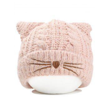 Funny Kitty Ear Decoration Knitted Lightweight Beanie - PINK PINK