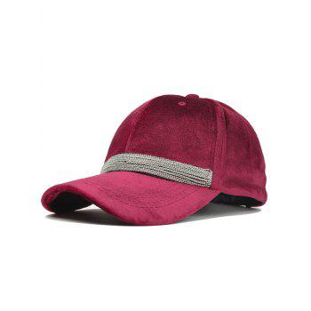 Beaded Chain Decorated Corduroy Adjustable Baseball Hat - WINE RED WINE RED