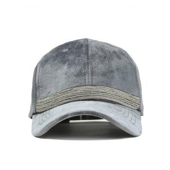 Beaded Chain Decorated Corduroy Adjustable Baseball Hat -  GRAY