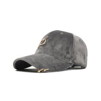 Outdoor Metal Ring Embellished Adjustable Graphic Hat - GRAY GRAY