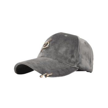 Outdoor Metal Ring Embellished Adjustable Graphic Hat - GRAY