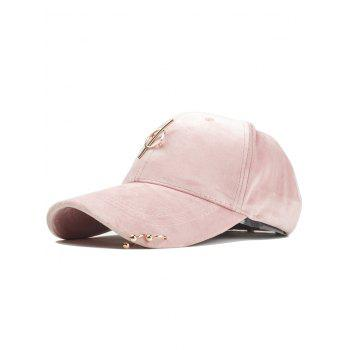 Outdoor Metal Ring Embellished Adjustable Graphic Hat - PINK PINK
