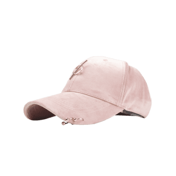 Outdoor Metal Ring Embellished Adjustable Graphic Hat -  PINK