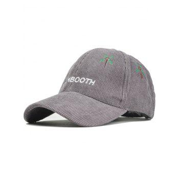 Letter and Coconut Tree Embroidery Adjustable Corduroy Baseball Hat - GRAY GRAY