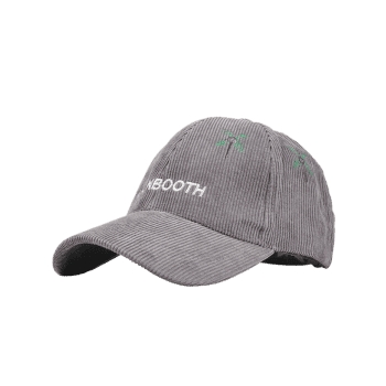 Letter and Coconut Tree Embroidery Adjustable Corduroy Baseball Hat -  GRAY